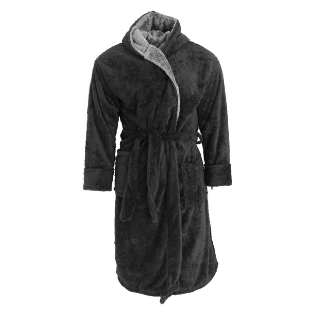 Black-Grey - Front - Harvey James Mens Soft Hooded Fluffy Dressing Gown