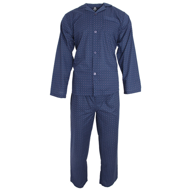 Navy Tile Print - Front - Cargo Bay Mens Woven Tile Pyjama Set