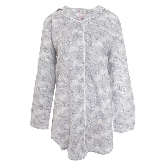 Grey Butterfly - Front - Cottonique Womens-Ladies Woven Night Shirt