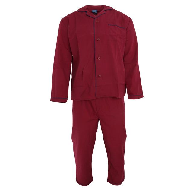 BURGUNDY - Front - Harvey James Mens Long Sleeve Shirt & Bottoms Woven Pyjamas-Nightwear Set