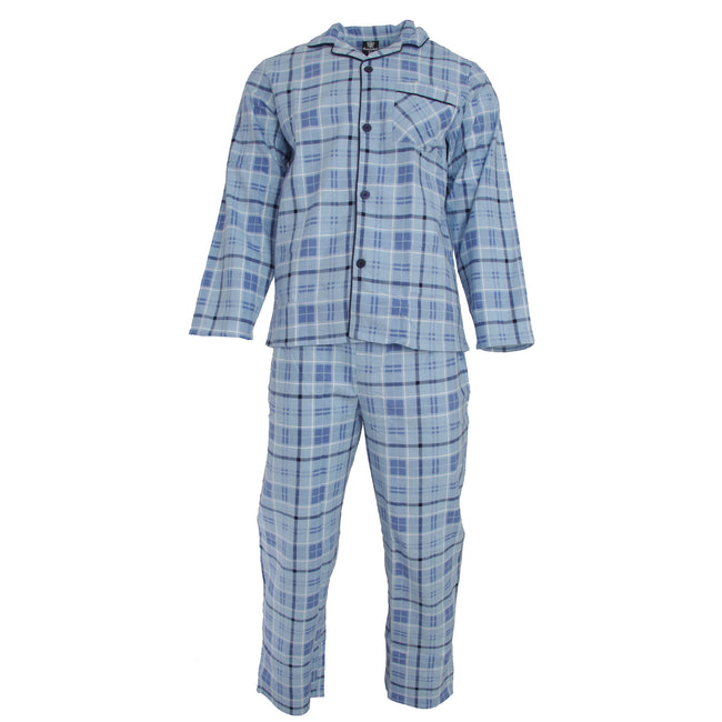 Sky Blue - Front - Cargo Bay Mens Stripe Pyjama Set