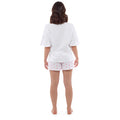 White- Pink - Back - Foxbury Womens-Ladies Tea Cup Kitty Pyjama Set