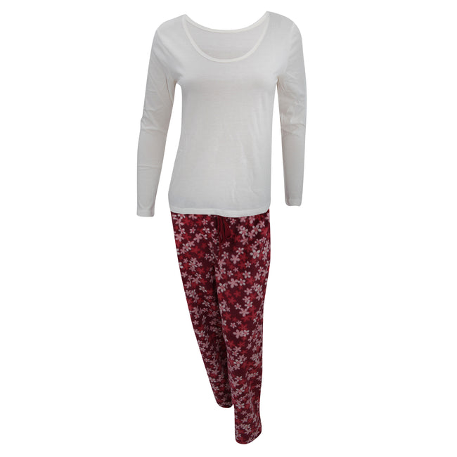 Cream-Red - Front - Womens-Ladies Long Sleeved Top And Floral Fleece Bottoms Pyjama-Nightwear Set