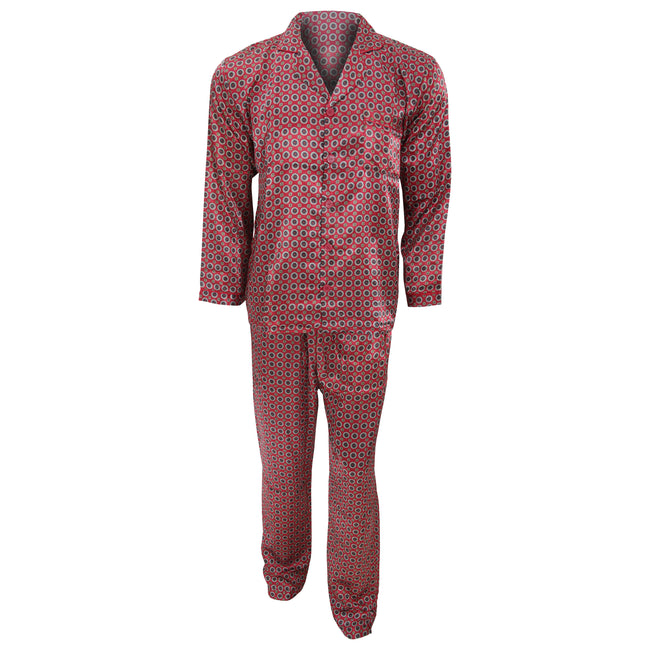 Red - Front - Mens Traditional Patterned Long Sleeve Satin Shirt & Bottoms Pyjamas-Nightwear Set