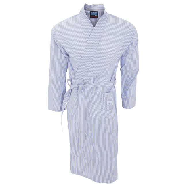 Light Blue Stripe - Front - Mens Lightweight Patterned Kimono Robe
