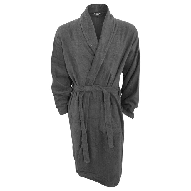 Grey - Front - Mens Plain Cotton Towelling Robe-Dressing Gown