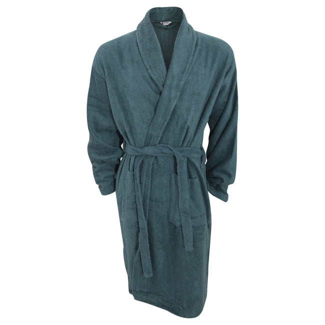 Green - Front - Mens Plain Cotton Towelling Robe-Dressing Gown