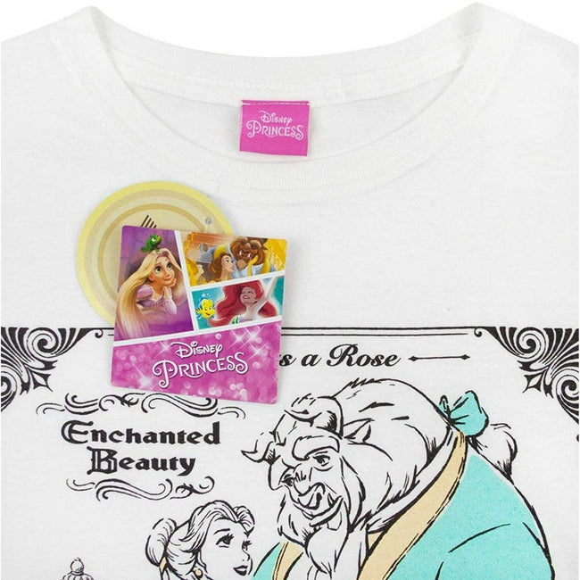 White - Back - Disney Womens-Ladies Beauty And The Beast Poster T-Shirt