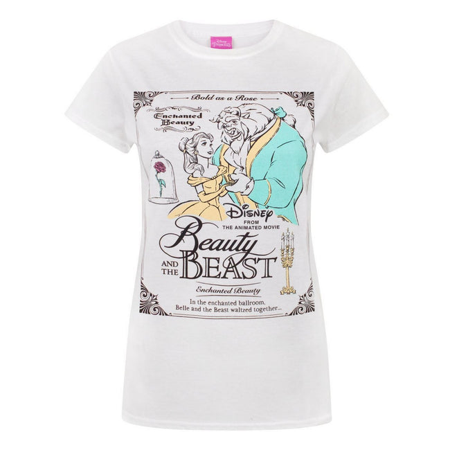 White - Front - Disney Womens-Ladies Beauty And The Beast Poster T-Shirt