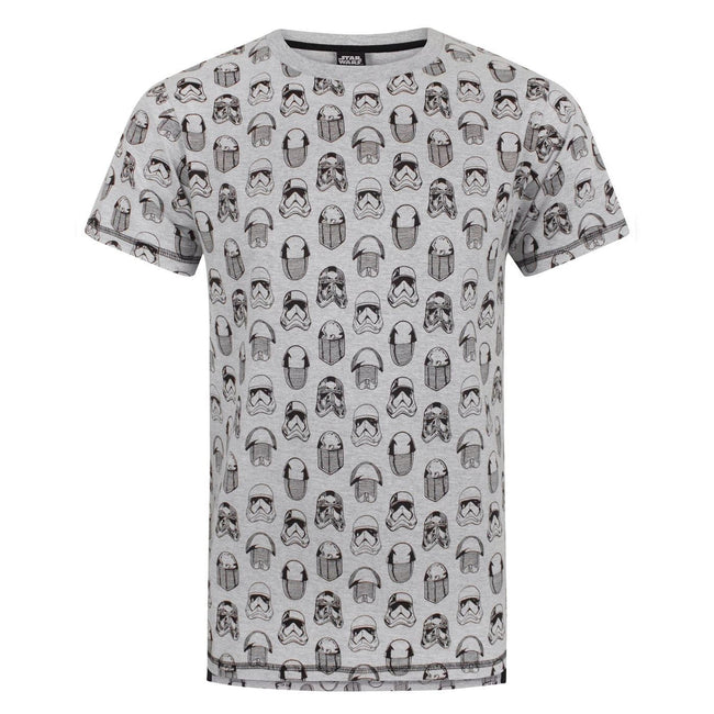 Grey - Front - Star Wars Mens The Last Jedi All Over Print T-Shirt
