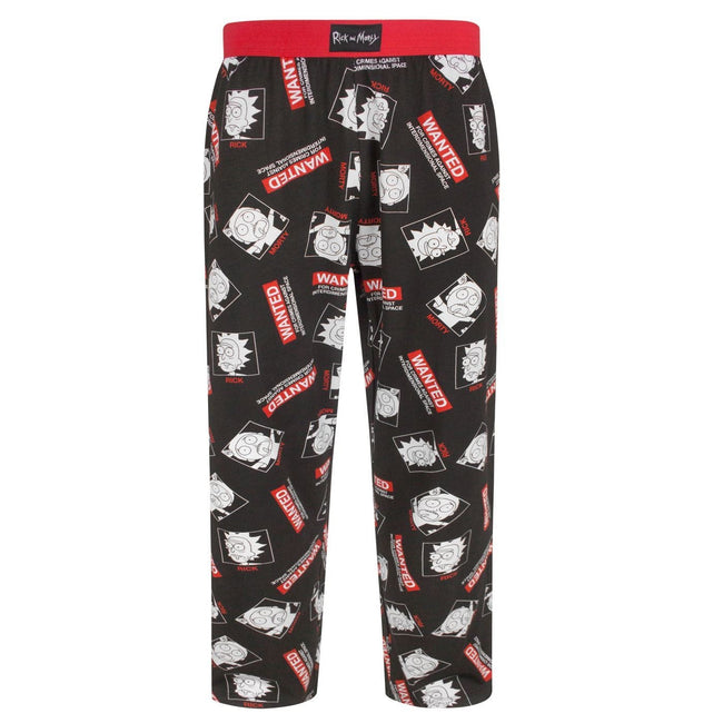 Black - Front - Rick And Morty Mens Wanted Loungepants