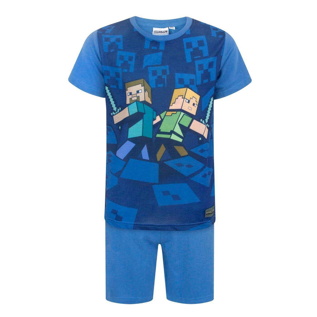 Blue - Front - Minecraft Official Boys Surrounded Pyjamas