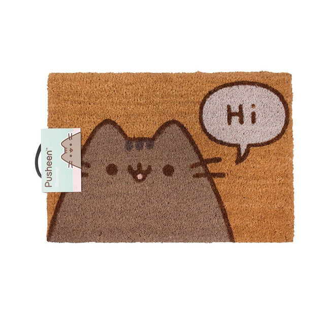 Brown - Front - Pusheen The Cat Says Hi Door Mat