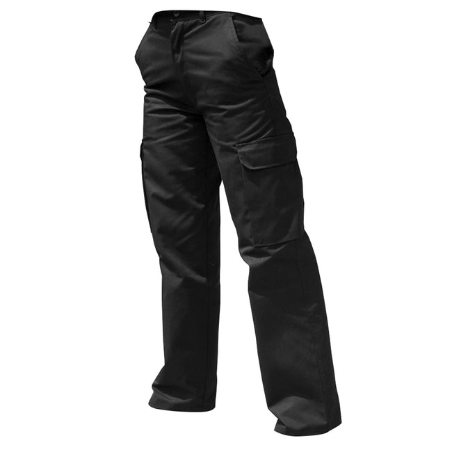 Black - Front - Warrior Womens-Ladies Cargo Workwear Trousers