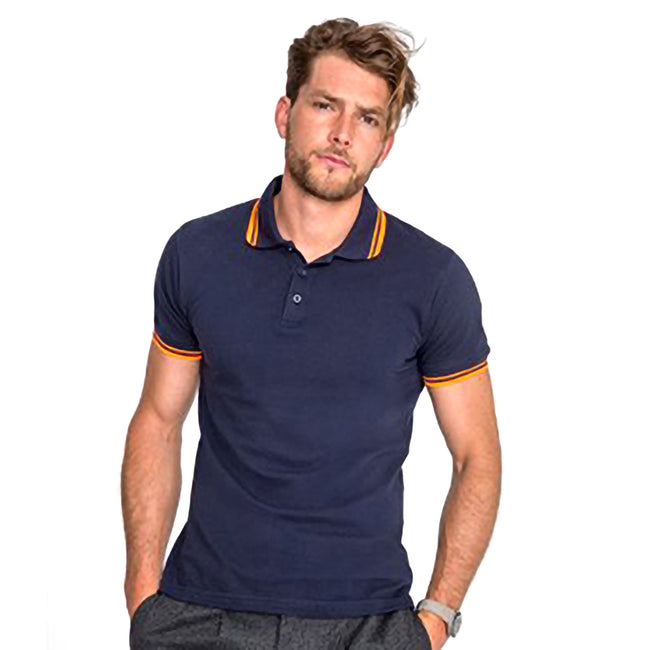 French Navy-Neon Orange - Lifestyle - SOLS Mens Pasadena Tipped Short Sleeve Pique Polo Shirt