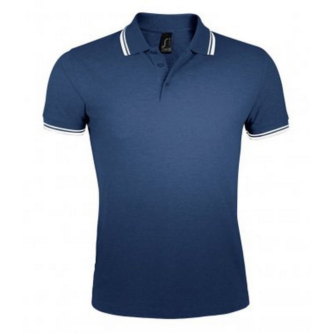 French Navy-White - Front - SOLS Mens Pasadena Tipped Short Sleeve Pique Polo Shirt