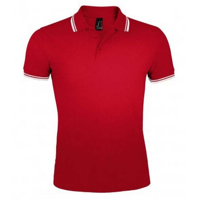 Red-White - Front - SOLS Mens Pasadena Tipped Short Sleeve Pique Polo Shirt