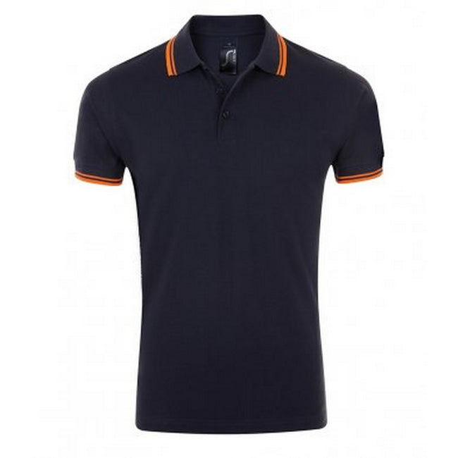 French Navy-Neon Orange - Front - SOLS Mens Pasadena Tipped Short Sleeve Pique Polo Shirt