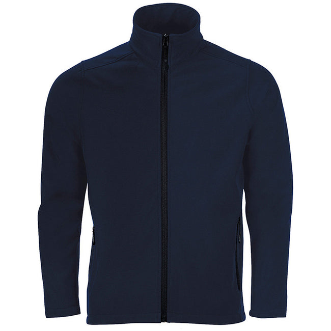 French Navy - Front - SOLS Mens Race Full Zip Water Repellent Softshell Jacket