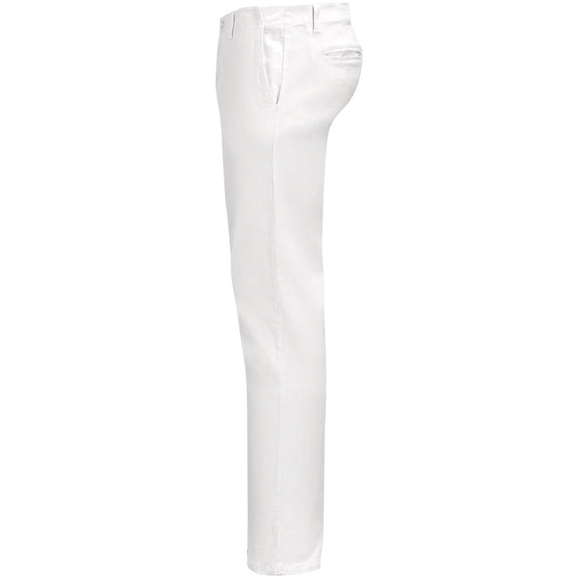 White - Side - SOLS Mens Jules Chino Trousers