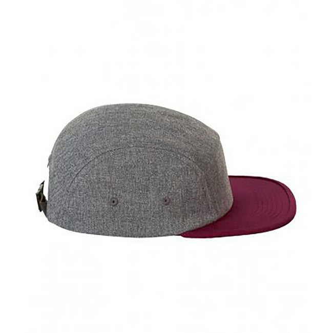 Charcoal Marl-Burgundy - Front - SOLS Unisex Ramsey 5 Panel Cap