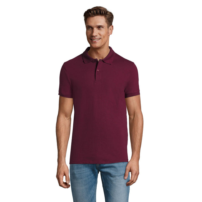 Heather Oxblood - Front - SOLS Mens Perfect Pique Short Sleeve Polo Shirt