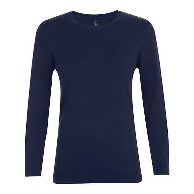 French Navy - Front - SOLS Womens-Ladies Ginger Crew Neck Sweater