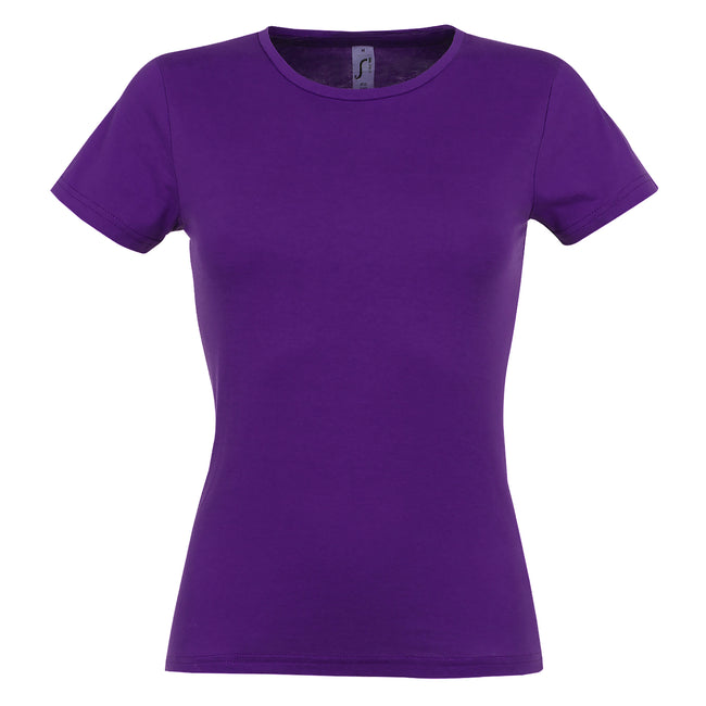 Dark Purple - Back - SOLS Womens-Ladies Miss Short Sleeve T-Shirt