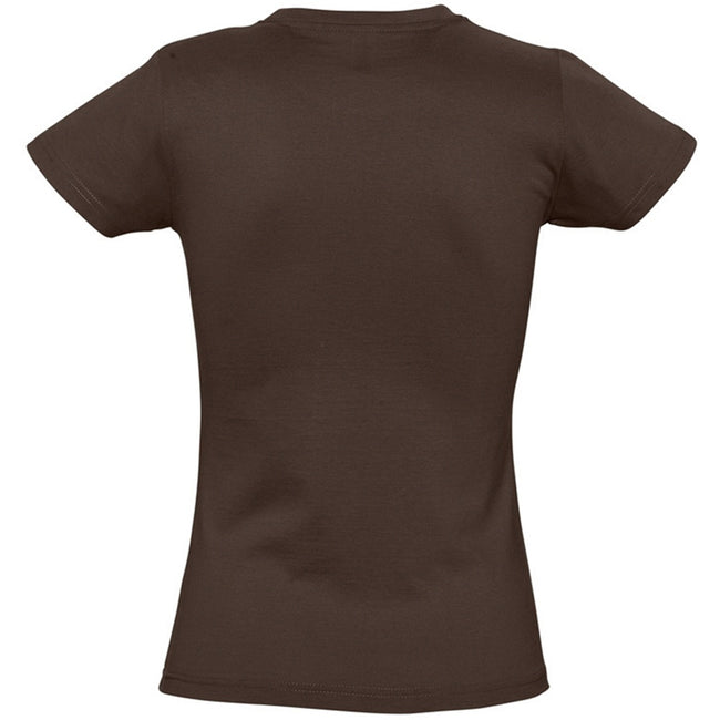 Chocolate - Back - SOLS Womens-Ladies Imperial Heavy Short Sleeve T-Shirt