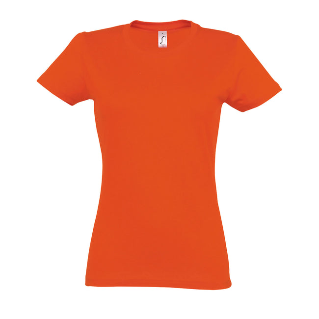 Orange - Front - SOLS Womens-Ladies Imperial Heavy Short Sleeve T-Shirt