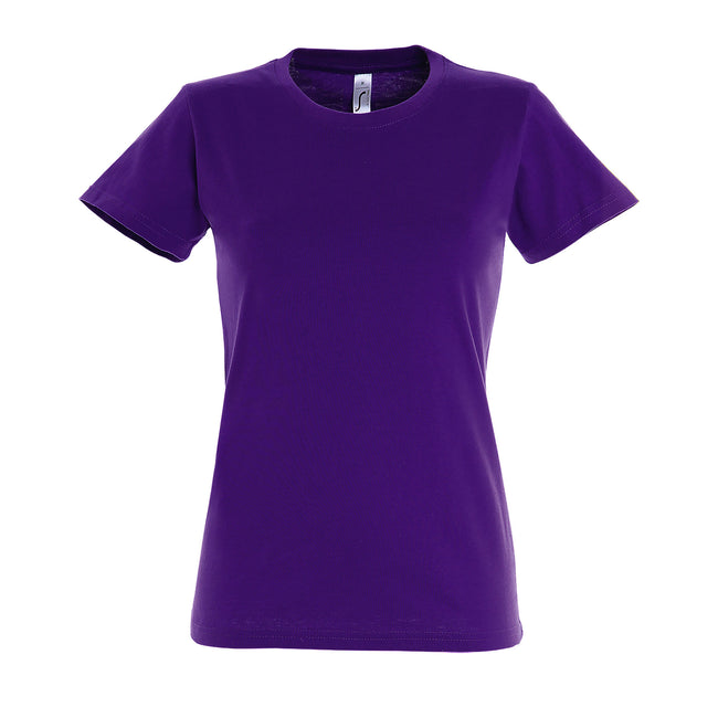 Dark Purple - Front - SOLS Womens-Ladies Imperial Heavy Short Sleeve T-Shirt