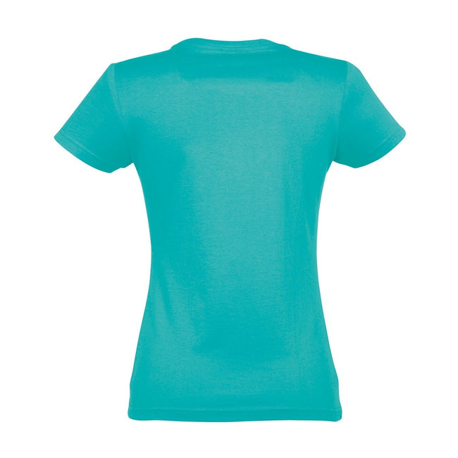Caribbean Blue - Back - SOLS Womens-Ladies Imperial Heavy Short Sleeve T-Shirt