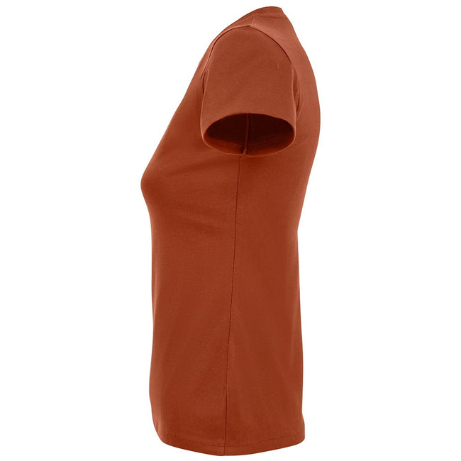 Dark Khaki - Back - SOLS Womens-Ladies Imperial Heavy Short Sleeve T-Shirt