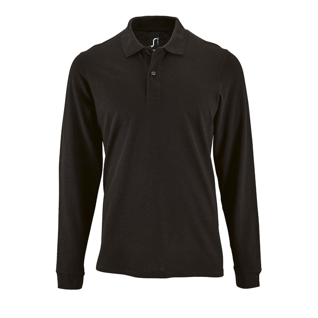 Black - Front - SOLS Mens Perfect Long Sleeve Pique Polo Shirt