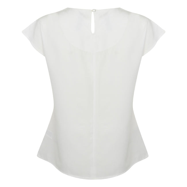 White - Back - Henbury Womens-Ladies Pleat Front Short Sleeve Top