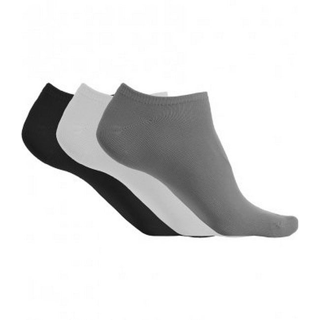 Storm Grey-White-Black - Front - Proact Womens-Ladies Microfibre Sneaker Socks (3 Pairs)