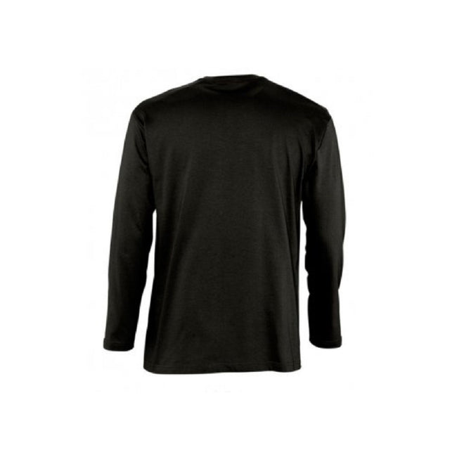 Deep Black - Side - SOLS Mens Monarch Long Sleeve T-Shirt