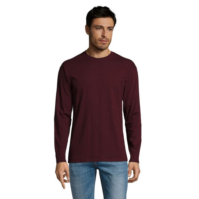 Oxblood - Front - SOLS Mens Monarch Long Sleeve T-Shirt
