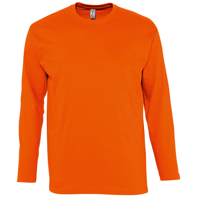 Orange - Front - SOLS Mens Monarch Long Sleeve T-Shirt