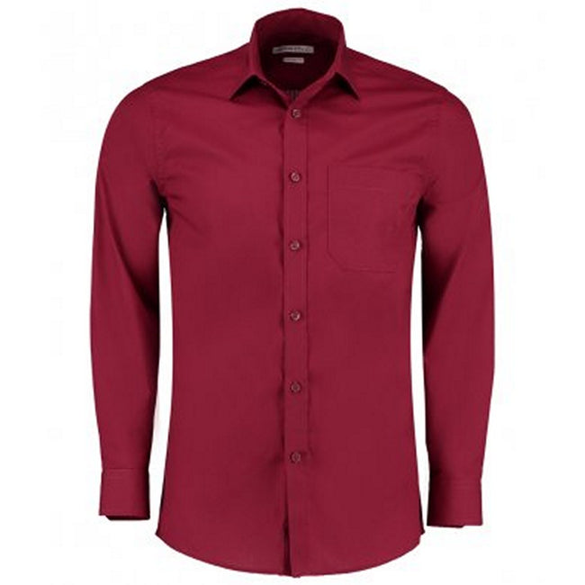 Claret - Front - Kustom Kit Mens Long Sleeve Tailored Poplin Shirt