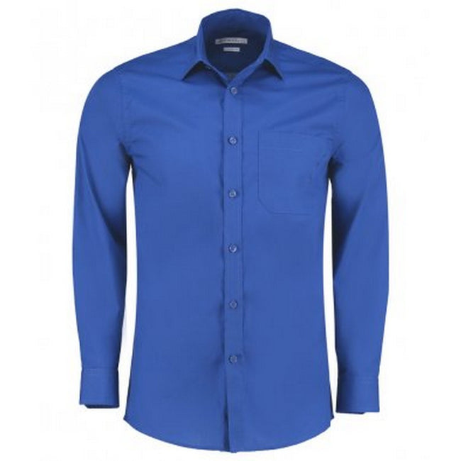 Royal - Front - Kustom Kit Mens Long Sleeve Tailored Poplin Shirt