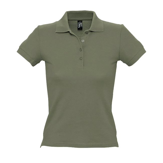Apple Green - Front - SOLS Womens-Ladies People Pique Short Sleeve Cotton Polo Shirt