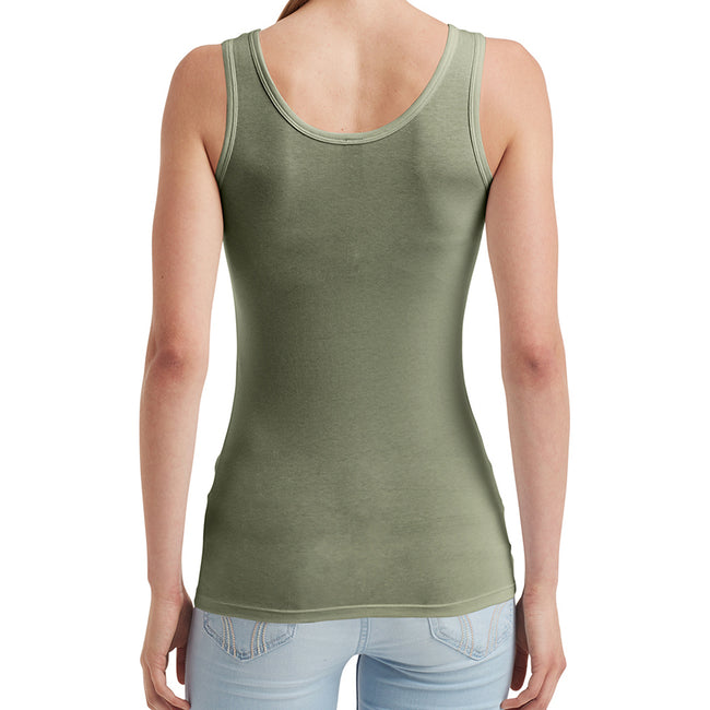 City Green - Back - Anvil Womens-Ladies Stretch Sleeveless Tank Top
