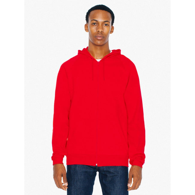 Red - Back - American Apparel Unisex California Zip Hooded Sweatshirt