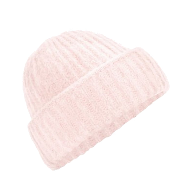 Soft Pink - Front - Beechfield Womens-Ladies Plush Cuffed Beanie