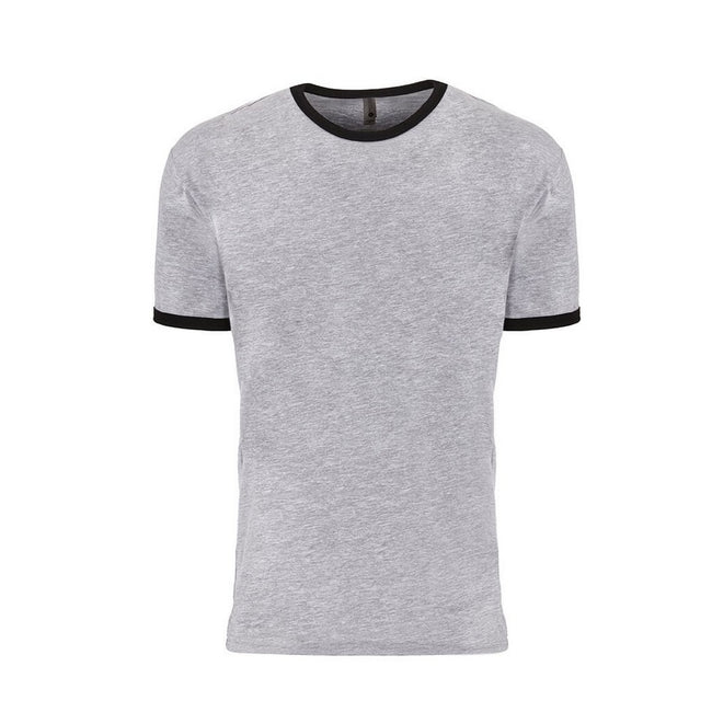 Heather Grey-Black - Front - Next Level Adults Unisex Cotton Ringer T-Shirt