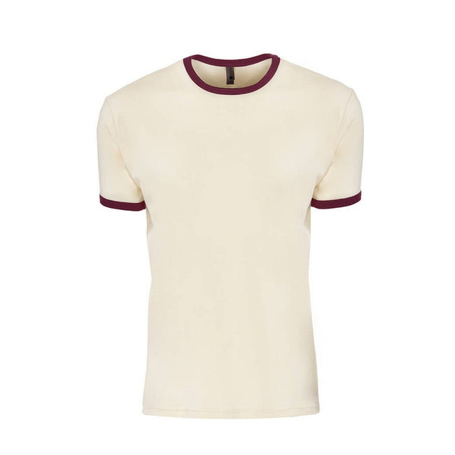 Natural-Maroon - Front - Next Level Adults Unisex Cotton Ringer T-Shirt