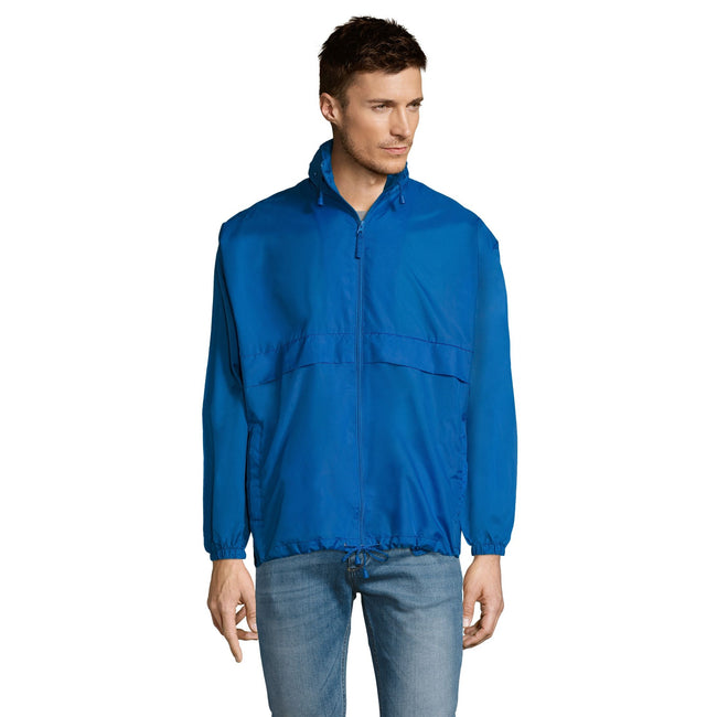 Blue Atoll - Back - SOLS Unisex Surf Windbreaker Lightweight Jacket