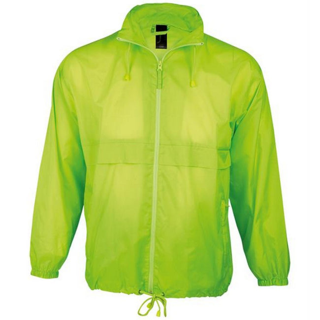Neon Green - Back - SOLS Unisex Surf Windbreaker Lightweight Jacket