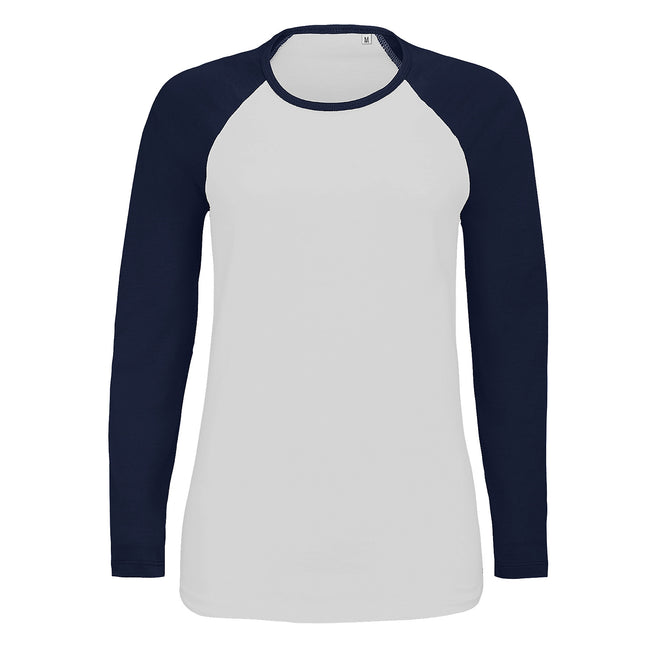 White-French Navy - Front - SOLS Womens-Ladies Milky Contrast Long Sleeve T-Shirt